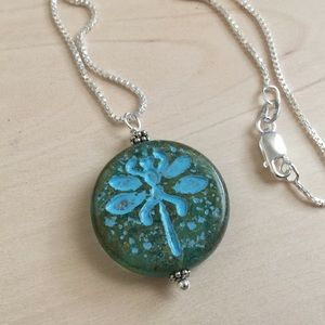 Jewelry - Sea green & turquoise Dragonfly Necklace